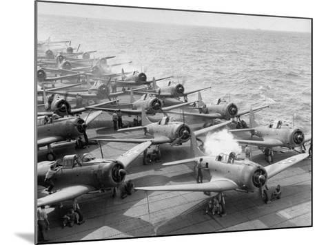 """Planes Starting Motors on Flight Deck of Aircraft Carrier """"Enterprise""""-Peter Stackpole-Mounted Photographic Print"""