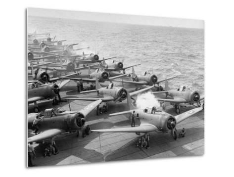 "Planes Starting Motors on Flight Deck of Aircraft Carrier ""Enterprise""-Peter Stackpole-Metal Print"