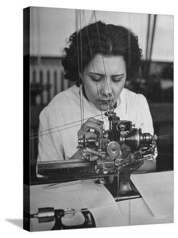 Woman Working in Watch Factory--Stretched Canvas Print