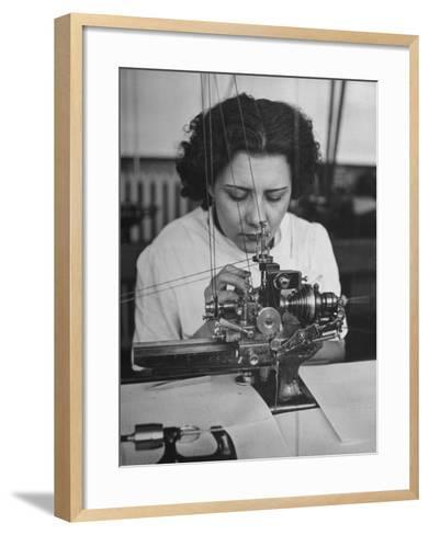 Woman Working in Watch Factory--Framed Art Print