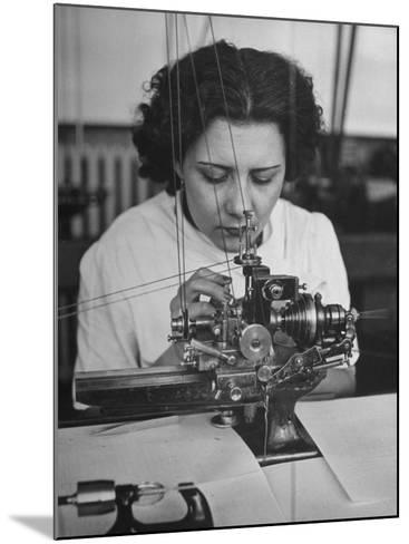 Woman Working in Watch Factory--Mounted Photographic Print