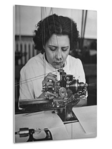 Woman Working in Watch Factory--Metal Print