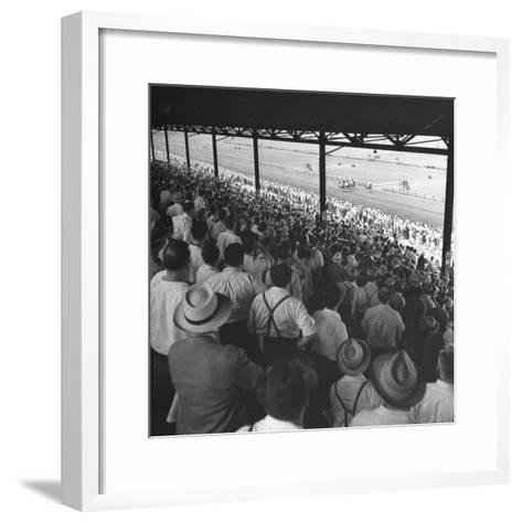 People Watching Horse Racing--Framed Art Print