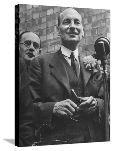 Next Prime Minister Clement Attlee, Greeting Newsreel Personnel-Bob Landry-Stretched Canvas Print