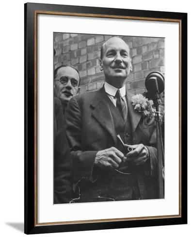 Next Prime Minister Clement Attlee, Greeting Newsreel Personnel-Bob Landry-Framed Art Print