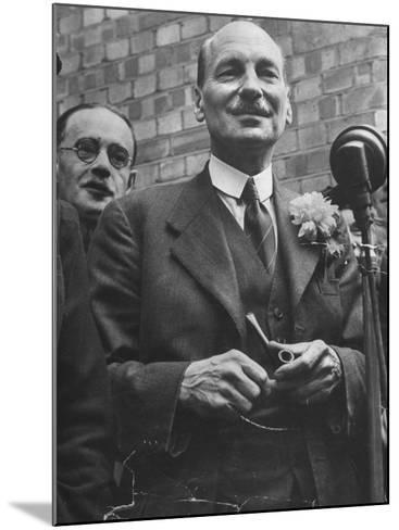 Next Prime Minister Clement Attlee, Greeting Newsreel Personnel-Bob Landry-Mounted Photographic Print