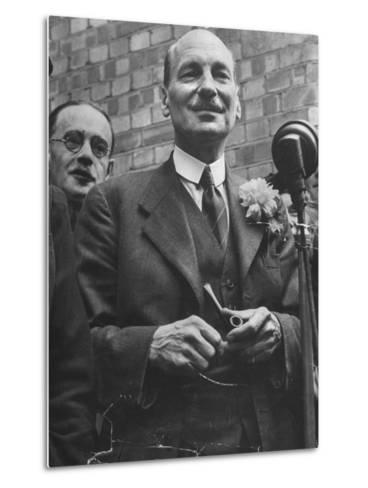 Next Prime Minister Clement Attlee, Greeting Newsreel Personnel-Bob Landry-Metal Print