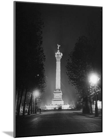 The Place De La Bastille Shimmering with Light During the Night-Ralph Morse-Mounted Photographic Print
