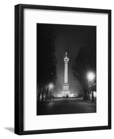 The Place De La Bastille Shimmering with Light During the Night-Ralph Morse-Framed Art Print