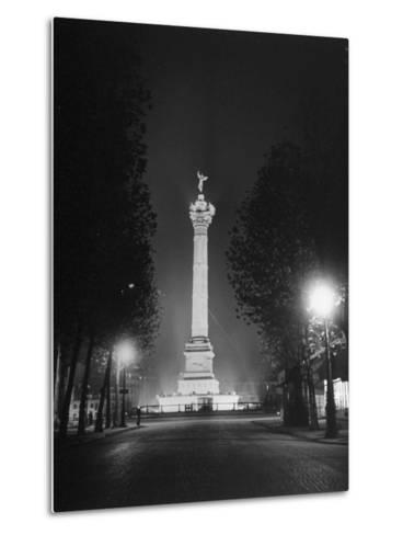 The Place De La Bastille Shimmering with Light During the Night-Ralph Morse-Metal Print