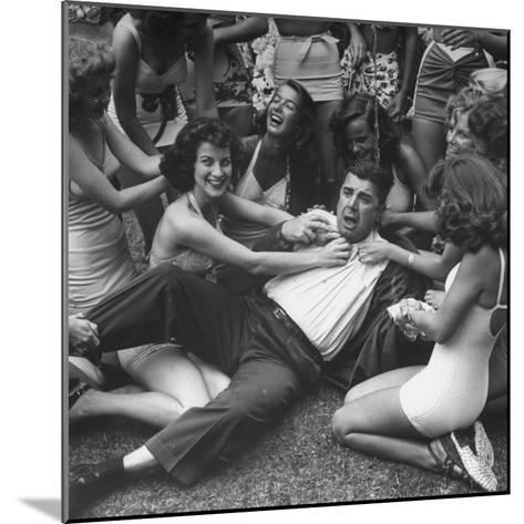 Contest Judge Ken Murray Being Wrestled to the Ground by Contestants in Beauty Pageant-Peter Stackpole-Mounted Photographic Print