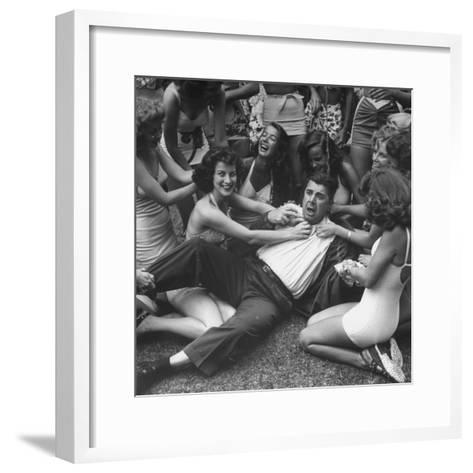Contest Judge Ken Murray Being Wrestled to the Ground by Contestants in Beauty Pageant-Peter Stackpole-Framed Art Print