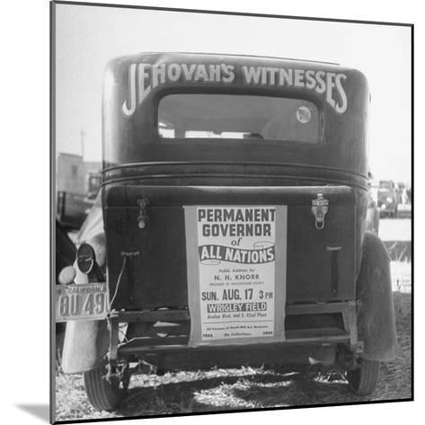 Back of Car Advertising for Jehovah's Witnesses' Activities at Wrigley Field-Loomis Dean-Mounted Photographic Print