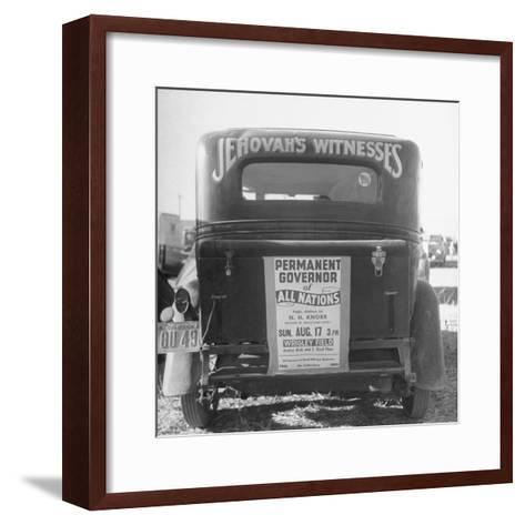 Back of Car Advertising for Jehovah's Witnesses' Activities at Wrigley Field-Loomis Dean-Framed Art Print