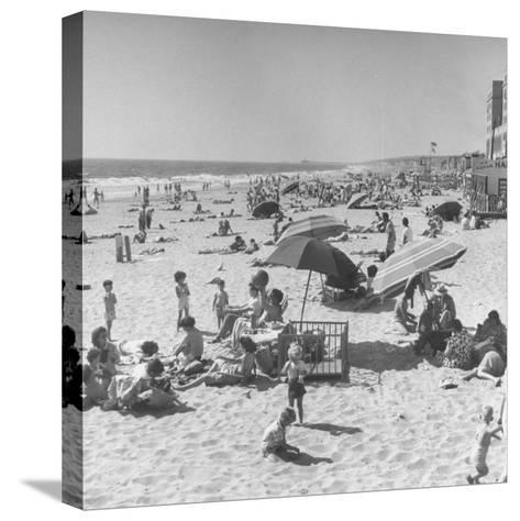Sun Bathers at Hermosa Beach--Stretched Canvas Print