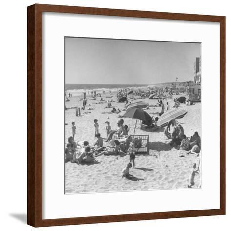 Sun Bathers at Hermosa Beach--Framed Art Print