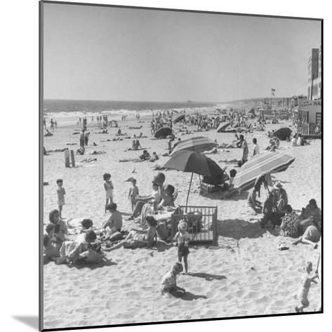 Sun Bathers at Hermosa Beach--Mounted Photographic Print