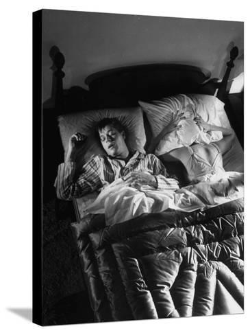 Man Snoring to the Point That His Wife Cannot Even Sleep in the Same Bed Any More--Stretched Canvas Print
