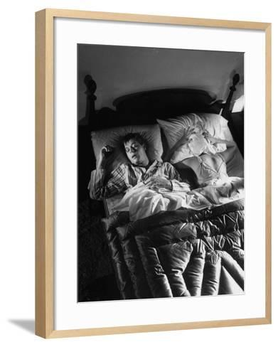 Man Snoring to the Point That His Wife Cannot Even Sleep in the Same Bed Any More--Framed Art Print