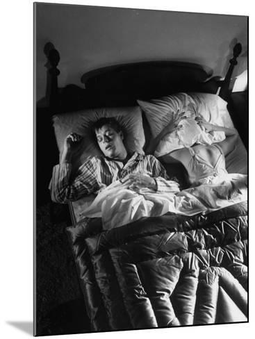 Man Snoring to the Point That His Wife Cannot Even Sleep in the Same Bed Any More--Mounted Photographic Print
