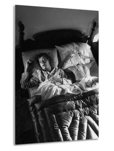 Man Snoring to the Point That His Wife Cannot Even Sleep in the Same Bed Any More--Metal Print