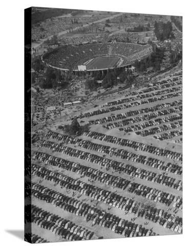 Aerial View of Rose Bowl Showing Thousands of Cars Parked around It-Loomis Dean-Stretched Canvas Print