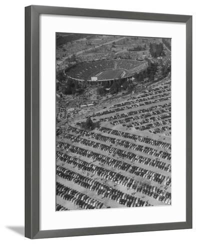 Aerial View of Rose Bowl Showing Thousands of Cars Parked around It-Loomis Dean-Framed Art Print