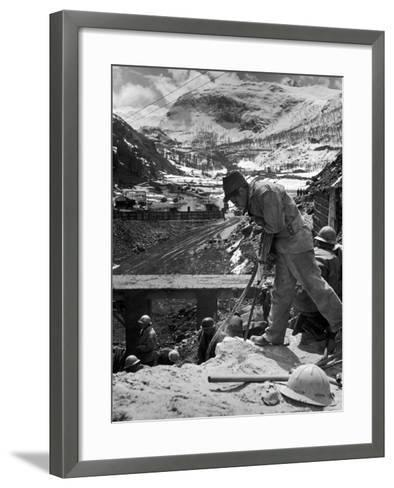 Worker Using a Jack Hammer to Help Build the Dam for the Eca-Sponsored Hydro-Electric Projects-Dmitri Kessel-Framed Art Print