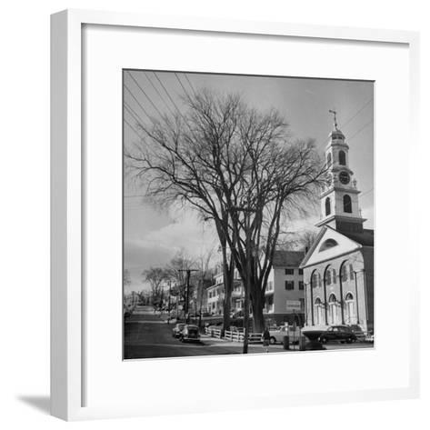 Main Street in Small New England Town, Showing Church, Stores, Etc-Yale Joel-Framed Art Print