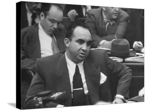 Gangster Mickey Cohen Testifying at Kefauver Hearings During Crime Probe-Peter Stackpole-Stretched Canvas Print