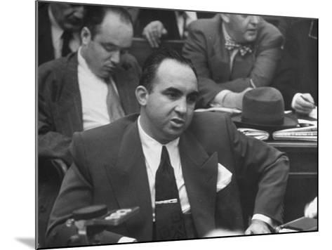 Gangster Mickey Cohen Testifying at Kefauver Hearings During Crime Probe-Peter Stackpole-Mounted Photographic Print