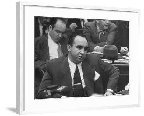 Gangster Mickey Cohen Testifying at Kefauver Hearings During Crime Probe-Peter Stackpole-Framed Art Print
