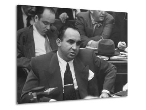 Gangster Mickey Cohen Testifying at Kefauver Hearings During Crime Probe-Peter Stackpole-Metal Print