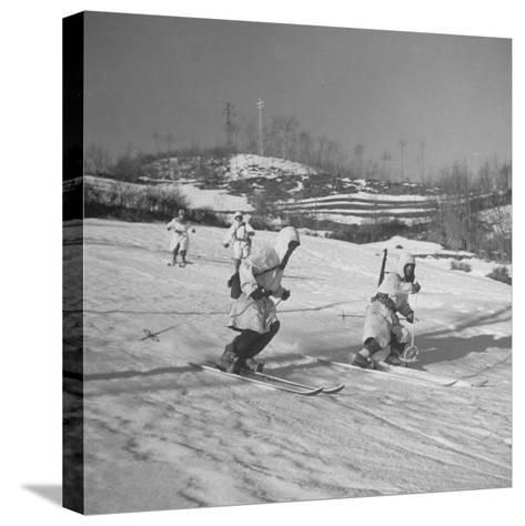 Amer. 10th Mountain Div. Army Ski Patrol, on the Itallian Front in the Appennine Mountains-Margaret Bourke-White-Stretched Canvas Print