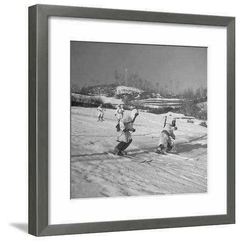 Amer. 10th Mountain Div. Army Ski Patrol, on the Itallian Front in the Appennine Mountains-Margaret Bourke-White-Framed Art Print
