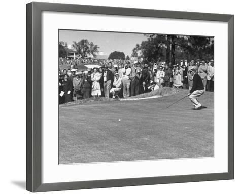 "Ben Hogan Applying ""Body English"" after Putting on 7Th, But Ball Went Foot Past Hole and Took Par--Framed Art Print"