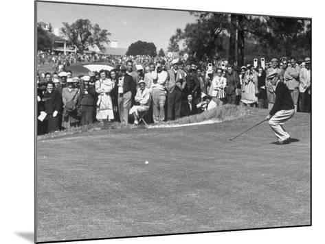 "Ben Hogan Applying ""Body English"" after Putting on 7Th, But Ball Went Foot Past Hole and Took Par--Mounted Premium Photographic Print"