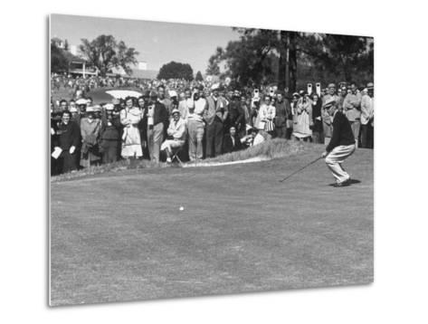 "Ben Hogan Applying ""Body English"" after Putting on 7Th, But Ball Went Foot Past Hole and Took Par--Metal Print"