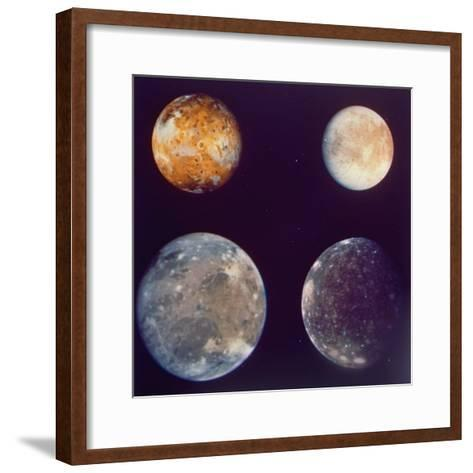 Jupiter's Satellites Io, Europa, Ganymede and Callisto as Depicted by Voyager 1 Spacecraft--Framed Art Print
