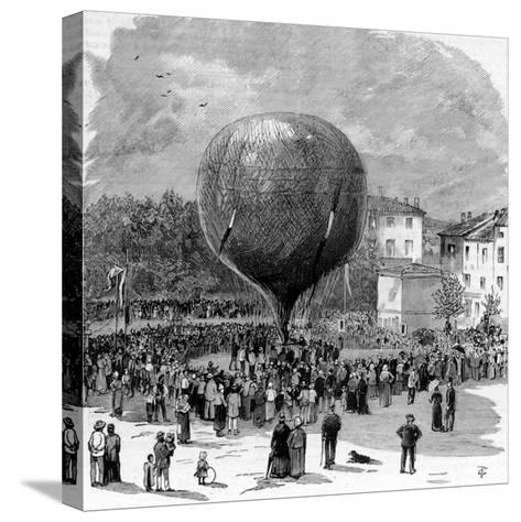 Ascent of Leon Montgolfier in Hot Air Balloon--Stretched Canvas Print