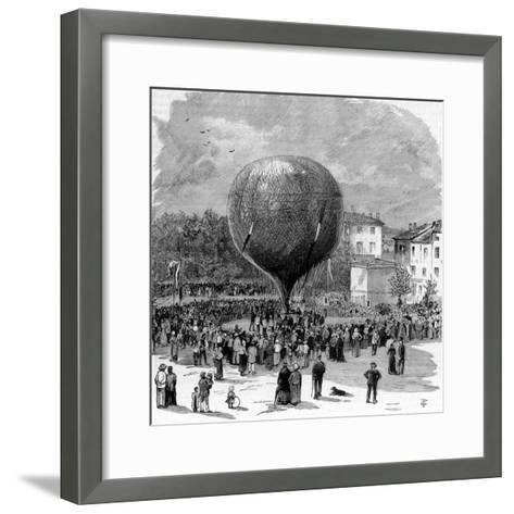 Ascent of Leon Montgolfier in Hot Air Balloon--Framed Art Print