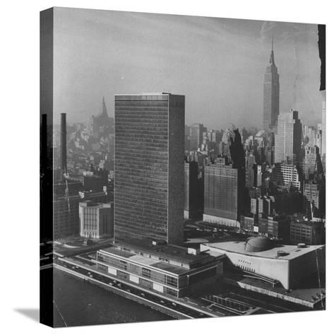 Sky Shot of the Un Headquaters and the Empire State Building-Dmitri Kessel-Stretched Canvas Print