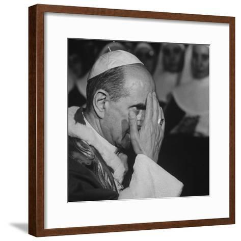 Pope Paul Vi, Officiating at Ash Wednesday Service in Santa Sabina Church-Carlo Bavagnoli-Framed Art Print