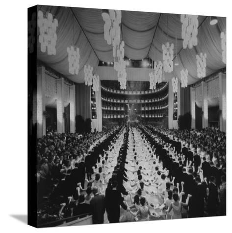 200 International Debutantes Dancing Polonaise at Opera Centennial Party--Stretched Canvas Print