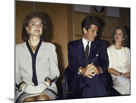 Jacqueline Kennedy Onassis and Her Children John F. Kennedy Jr. and Caroline Kennedy Schlossberg--Mounted Premium Photographic Print