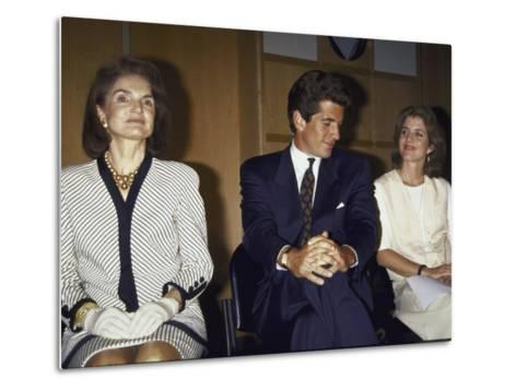 Jacqueline Kennedy Onassis and Her Children John F. Kennedy Jr. and Caroline Kennedy Schlossberg--Metal Print