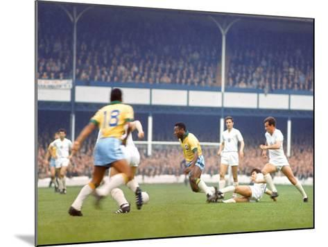 Soccer Star Pele in Action During World Cup Competition--Mounted Premium Photographic Print