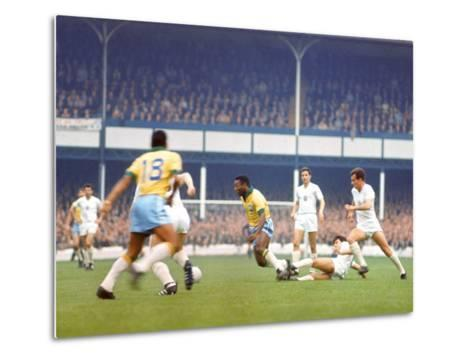 Soccer Star Pele in Action During World Cup Competition--Metal Print