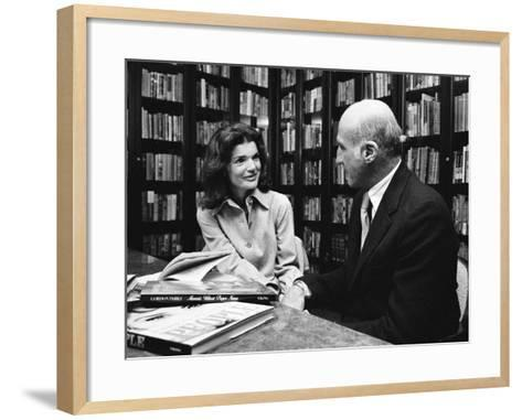 Jacqueline Kennedy Onassis and Boss Thomas H. Guinzburg at Viking Press-Alfred Eisenstaedt-Framed Art Print