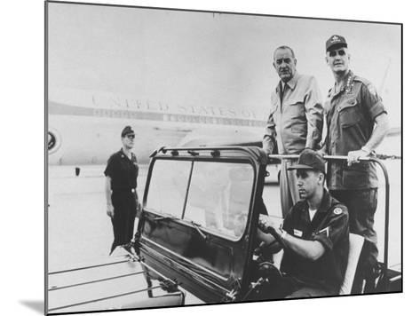 Pres. Lyndon B. Johnson with Gen. William C. Westmoreland Reviewing Troops at Cam Ranh Bay--Mounted Premium Photographic Print